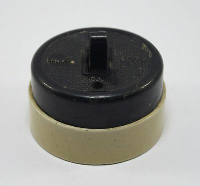 Vintage Big Size Ceramic Black & White Electric Switch Industrial Use. G24-22