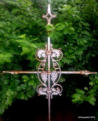 Huge Old Iron Vineyard Cross  Really Cool Grapes & Vines  Rusty Paint Heavy