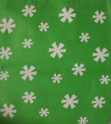 "CLASSIC CHRISTMAS SNOWFLAKES ON GREEN POLYESTER 15 1/2"" x 14 1/2""  TOTE GIFT BAG"