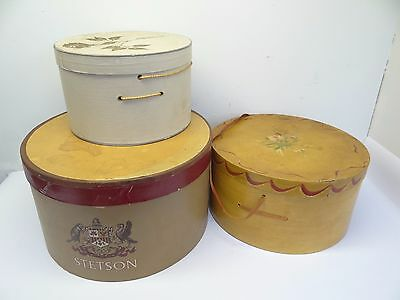 Mixed Vintage Lot 3 Used Cardboard Hatboxes Hat Boxes Lord & Taylor Painted