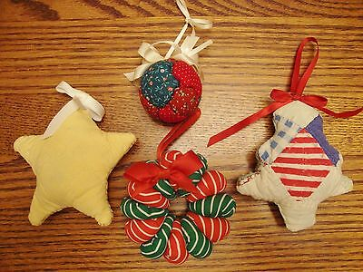 Hand Quilted Christmas Ornaments Lot