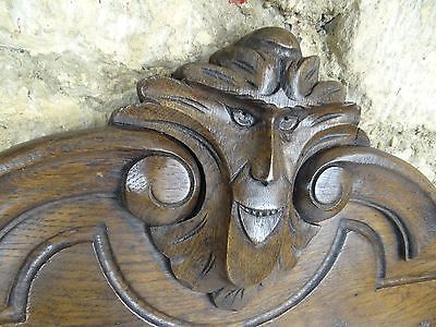 "41""  Antique French Hand Carved Pediment 19 th - Solid Oak With Griffin"