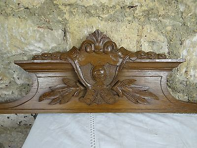 "39""  Antique French Carved Wood Oak Pediment 19 th"