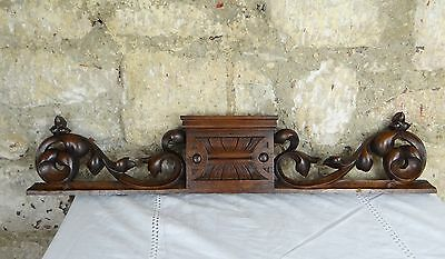 "27"" Antique French Hand Carved Pediment 19 th - Solid Walnut"