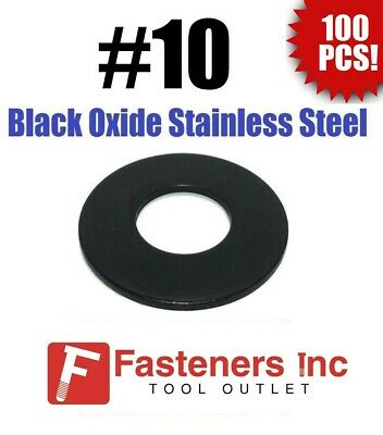 (Qty 100) #10 Black Oxide Stainless Steel Flat Washer