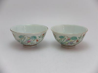 Pair of 20th century republican Chinese famille rose porcelain bowls