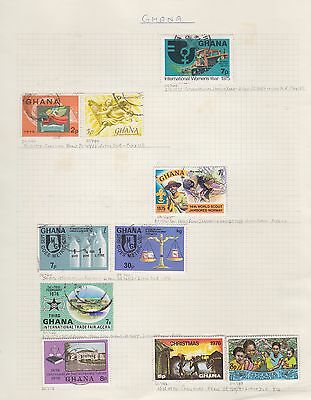 GHANA 1975-88 10 album page used & mounted mint