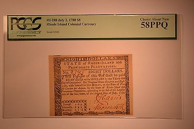 Rhode Island July 2, 1780 $8 PCGS Choice About New 58PPQ.