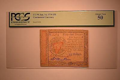 Continental Currency January 14, 1779 $55 PCGS About New 50.