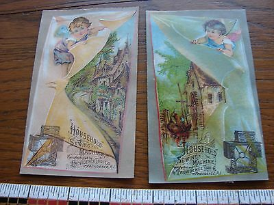 2 antique trade cards- Household Sewing Machines- cherubs w/ old scenes