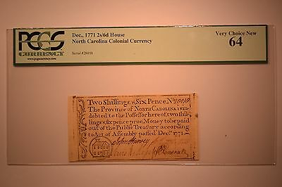 North Carolina December, 1771 2s6d House PCGS Very Choice New 64.