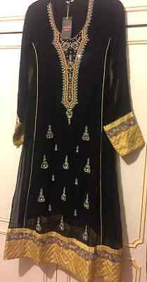 Ladies Designer Black and gold Asian adress size small trouser and dupatta