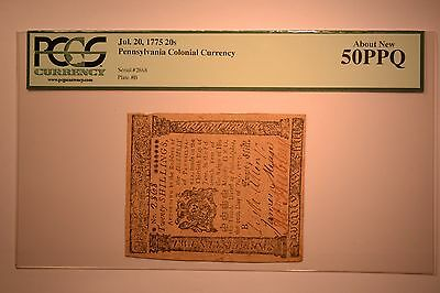Pennsylvania July 20, 1775 20s PCGS About New 50PPQ.