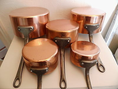 French copper saucepans (Tournus) all stamped.