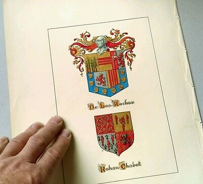 HERALDIC ALBUM PAGE with HAND PAINTED COATS of ARMS of SPANISH FAMILIES c.1910.