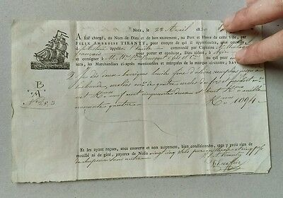 RARE HANDWRITTEN 1830 PORT of MARSEILLES RECEIPT for CARGO of FINE OLIVE OIL.