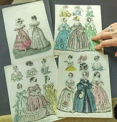 FOUR HAND COLOURED 1830s FASHION PLATE ENGRAVINGS of EVENING DRESSES and HATS.