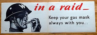 Original WWII British Poster In A Raid- Keep Your Mask Always by Tom Purvis