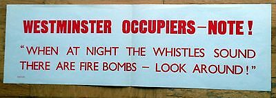 Original WWII British Poster/Banner Westminster Occupied, When At Night Whistles