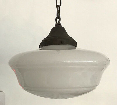 Vintage White Milk Glass Schoolhouse Pendant Light Fixture, classic design