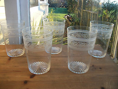 Set Of 5 Antique Edwardian Etched Tumblers Beakers Water Dinner . Delicate