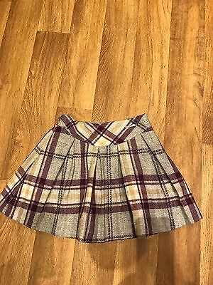 Mayoral Chic Girls Grey Tartan Skirt 💕Age 6 Yrs 🎄Xmas Day Plum / Grey Vgc