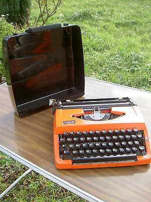 Machine à écrire Marque BROTHER 210 Portable VINTAGE 1970 Orange Typewriter