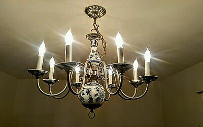 VINTAGE Delft hanging Chandelier light fixture 8 ARMS