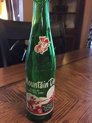 Vintage Green Canadian Mountain Dew Soda Bottle Filled By Clem and Gert