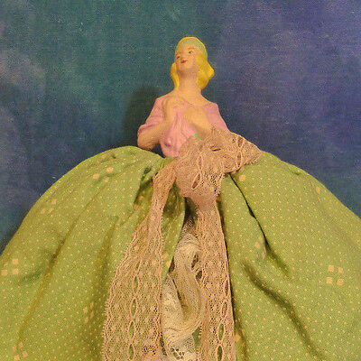 Antique Vintage 1920s Plaster Chalk Half Doll as Tea Cosy Pink Green DA35