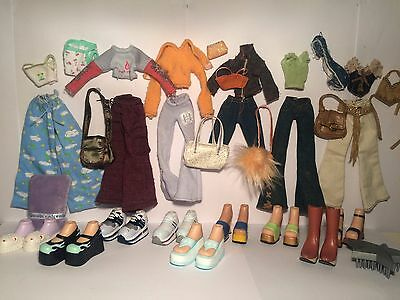 Bratz dolls huge clothes outfits accessories bundle original sets PJs Shopping