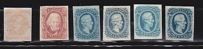 Confederate, general issues, several unused stamps. No gum.