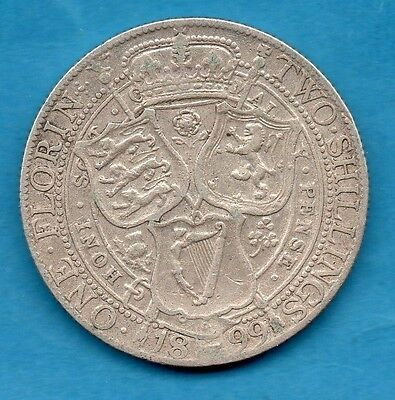 1899 Florin Coin. Queen Victoria Veiled Head Sterling Silver Two Shillings.