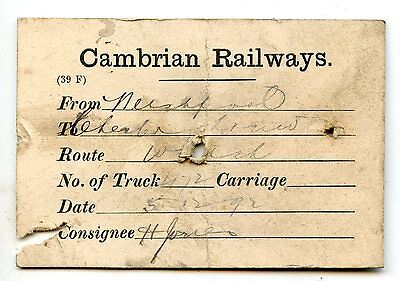 Cambrian Railways 1892 wagon label