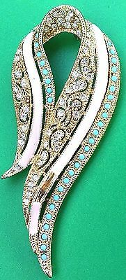 Vintage Trifari Signed Ktf Alfred Philippe Book Piece Rhinestone Cab Brooch Pin