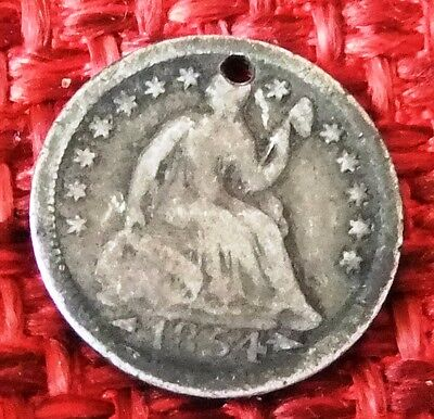 1854 USA Seated Liberty Silver 5 Cent Half Dime Antique coin