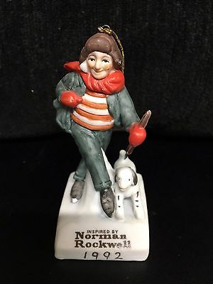 """1992 Dave Grossman Norman Rockwell """"on The Ice"""" Porcelain  Christmas Ornament"""