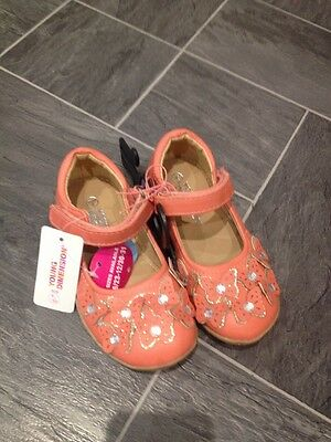 Coral Pink Size 9 Girls Shoes With Butterfly & Gem Detail And Velcro Strap