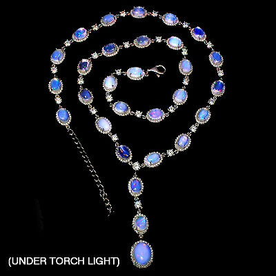 Sterling Silver 925 Genuine Natural Opal & Lab Diamond Necklace 18.5 to 20.5 In
