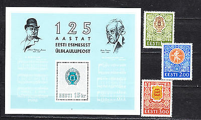 Estonia 1994 Song Festival Complete Set And Minature Sheet Mint Never Hinged
