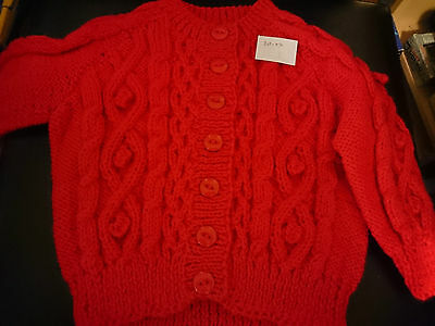 hand knitted red cardigan 20ins/ 6 months