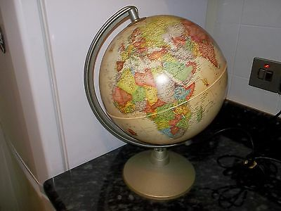 Vintage Globe LIGHT World Map on Stand Spinning Ornament