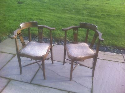 Pair of Edwardian Walnut Inlaid Corner Chairs