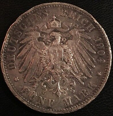 1904 Germany 5 Mark Silver Coin
