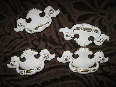 4 Cabinet Hardware Handles/Pulls Large White & Gold