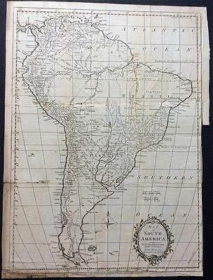 Map of South America by THOMAS KITCHIN c1795, Original copperplate engraved map