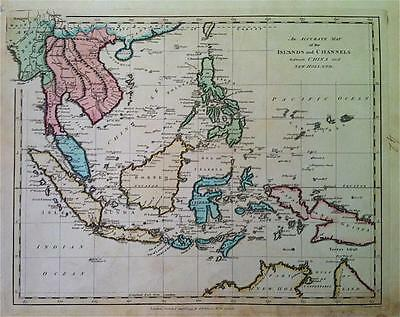 Map, CHINA & NEW HOLLAND c1794 WILKINSON Original engraved Copperplate color VGC