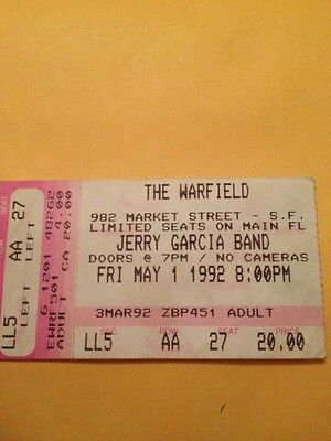 JERRY GARCIA BAND Concert Ticket Stub 5-1-1992 The WARFIELD