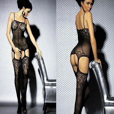 Black Sexy Flower Open Crotch Fishnet Bodystocking/Catsuit Lingerie 10-14