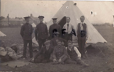 WW1 soldier Group Kitchener's Army recruits in tented camp Kitcheners blues